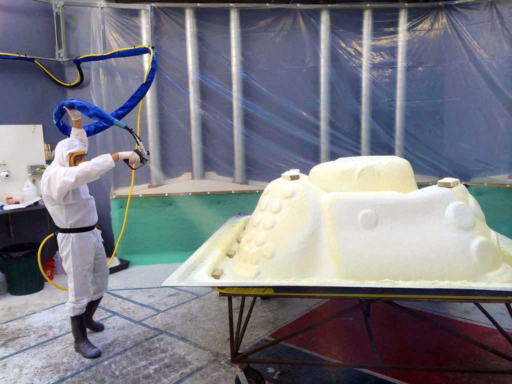 Fibreglassing and foam insulating procedure to a spa shell at our Pacific Spas factory.
